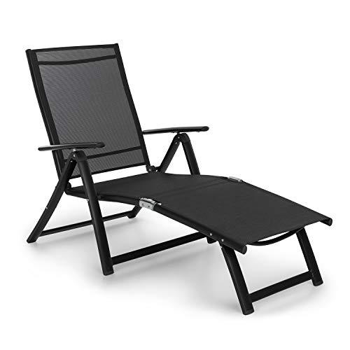 Blumfeldt Pomporto Lounge Tumbona de Exteriores - Hamaca para Tomar el Sol, Superficie de 173,5 x 51 cm, Respaldo reclinable a 7 Alturas, Superficie hidrófuga, ComfortMesh, Plegable, Antracita