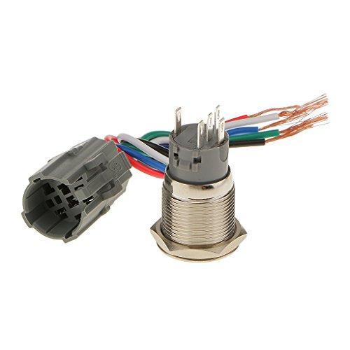 yotijar Metal 19 milímetros apagado LED azul SPST (On) botón impermeable