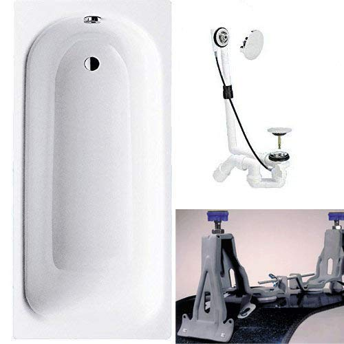 KALDEWEI Saniform Plus Stahl Badewanne inkl. Fußgestell Badewannenfüßen [160x70cm]