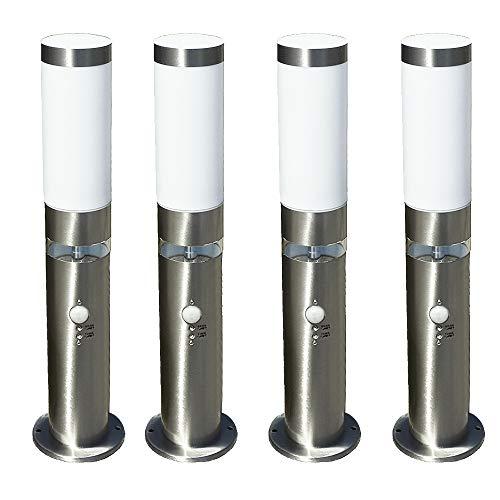 4x LED-Edelstahl-Außen-Sockel-Wege-Leuchte-Lampe LISA 3, H: 50 cm, D: 7,6 cm, Kunststoffglas, Bewegungsmelder, Hauptlicht E27, max. 40W, Grundlichtring 12 LEDs fest eingebaut, Dämmerungssensor, IP44