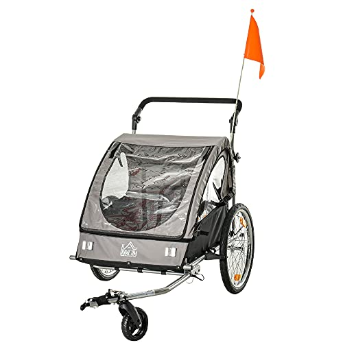 HOMCOM 2 in 1 Kinderanhänger Fahrradanhänger Kinderwagen mit Aufbewahrungstasche zweilagige Stahlrohrverschachtelung Metall Oxford Grau+Schwarz 160 x 84 x 106 cm
