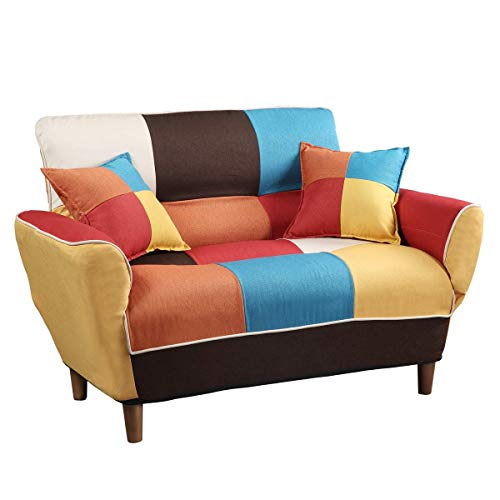 SPL.Ecommerce Store Modern Colorful Sleeper Sofa Modern Colorful Loveseat Couch Futon Bed w/Pillows Room Furniture