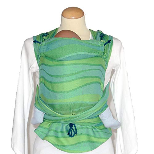 DIDYMOS Meh-Dai/Mei Tai (DidyTai) Baby Carrier Waves Lime (Organic Cotton), One Size