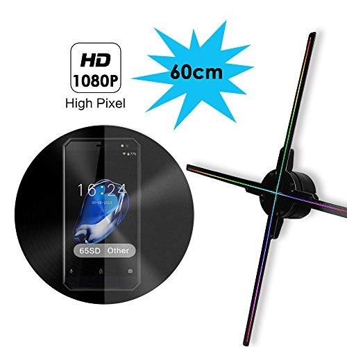 WiFi 3D Holographic Projector, 25.6 Inch 3D Hologram Fan Display 65S,16G TF Card 1080P HD and 766Pcs Led Beads,Four-Axil and High Transfer Speed,Upload by iOS and Android 3D Holographic Fan