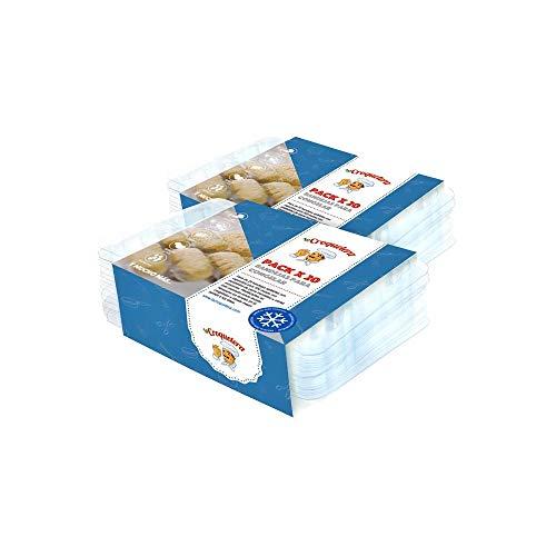 La Croquetera - Pack de 40 bandejas apilables y Reutilizables - para 400 masas (croquetas, albóndigas, Bolas, etc.) - 100% español : Patentado y Fabricado en España