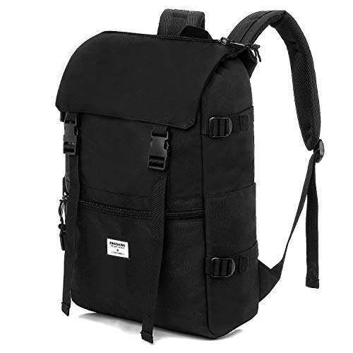 KINGSLONG Roll Top Backpack Lightweight Waterproof Rucksack Fits Up to 17.3 Inch Laptop for Mens Women Travel Hiking Camping School College Business,Casual Daypack 25 L,Black