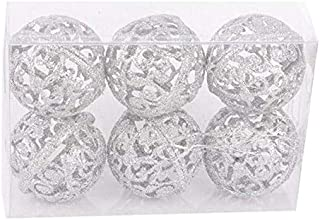 Pendant & Drop Ornaments - 6pcs Glitter 6cm Xmas Tree Gold Ball Christmas Hollow Out Balls Ornaments Party Wedding Home Decor - Guest Book Tree Guestbook Wooden Book Fingerprint Christma Tre