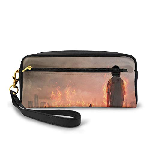 Pencil Case Pen Bag Pouch Stationary,Group of People in A Flame in The Water Under Storm Clouds Image,Small Makeup Bag Coin Purse