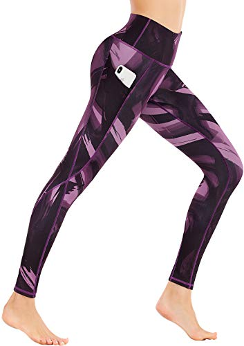 Ewedoos Yoga Leggings with Pockets - Printed Yoga Pants for Women, High Waist Tummy Control Non See-Through Workout Leggings(Artistic Purple, Medium)