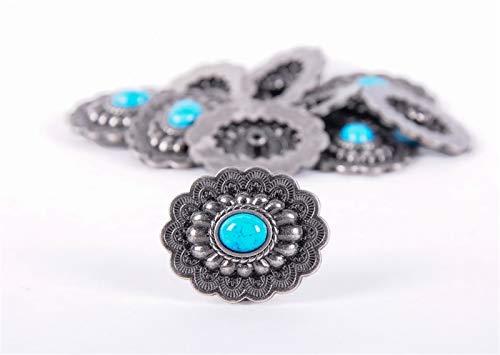 IENPAJNEPQN 10PC 35 * 28MM de Plata Antiguo Floral de la Turquesa del botón del Arte del Cuero de Caballo Sillas de Montar la decoración de los Remaches
