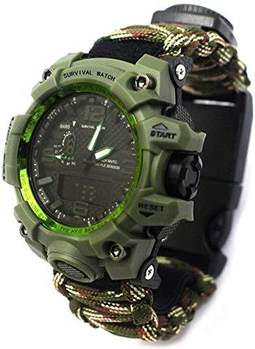 JSL Reloj de metal de la moda inteligente de la mano mecánica SOS un botón para ayudar a ver los deportes de monitoreo reloj recordatorio de llamada reloj-Negro-montaña camuflaje