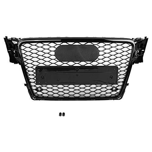Front Sport Hex Mesh Honeycomb Hood Grill Gloss Black for Audi A4/S4 B8 2009 2010 2011 2012 For RS4 Style Car Accessories