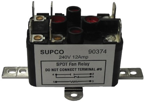 Supco 90370 General Purpose Fan Relay, 12 A Load Current, 24 V Coil Voltage, Single Pole Double Throw Contacts