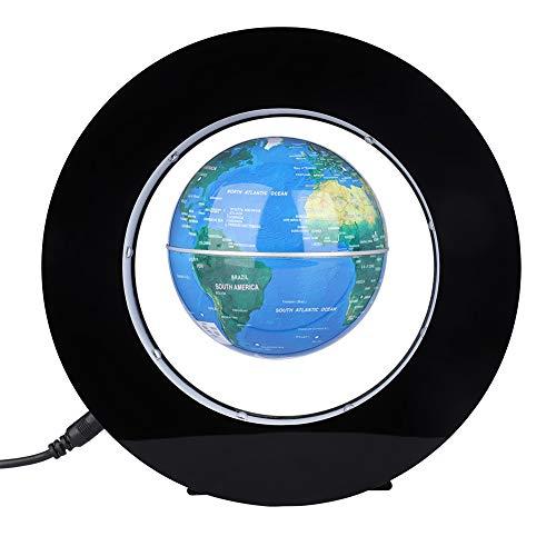 Globo Flotante de levitación magnética gira del mapa del mundo utilizar como decoración del escritorio del hogar o de oficina, un gran regalo que sorprenderá a su familias y amigos (Azul)