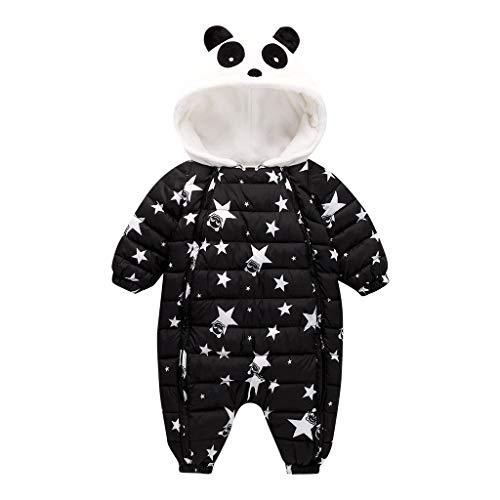 Storerine Hiver Tenue Bébé Garçon Capuche Chaud Grenouillères Fourrées Combinaison de Neige Mignon Panda Barboteuse Fille Manches Longues Léger DoudouneManteau Épais Ensemble Pyjama 0-2 Ans