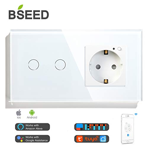 BSEED Interruptor wifi de pared con enchufe Interruptores luz Alexa,Tuya y Google Home, Control de APP, 2 Gang 1 Way Interruptor wifi con Enchufe Inteligente 16A Blanco