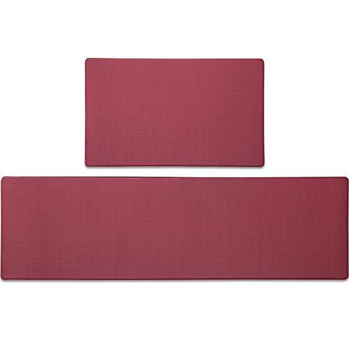 Color&Geometry Komfort Küchenläufer 2 Stück, rutschfeste Küchenteppich mit Ölfest und Wasserdicht PVC, Gummirücken Küchenmatte Teppichläufer für Esszimmer, Küche, Flur (45 x 75 cm +45 x 150 cm, Rot)