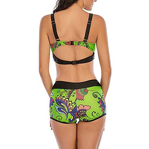 Traje de baño de Dos Piezas de Bikini Dividido para Mujer, diseño Simple y Colores Vivos, Adecuado para Nadar y Tomar fotografías en la Playa(Verde+XXXXXL)