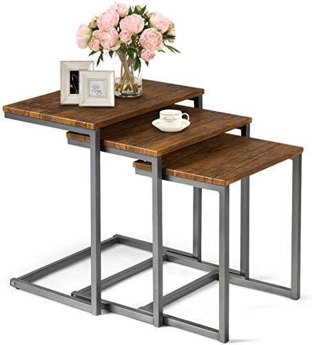 RELAX4LIFE 3-teilige Satztische, Beistelltisch 3er Set aus Holz, Betttisch mit Metallgestell, Sofatisch Set, Couchtisch verschachtelbar, Kaffeetisch Braun, Nachttisch für Schlafzimmer & Wohnzimmer