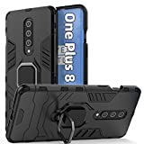 Jusy Heavy Duty Shockproof for Oneplus 8 Case with Rotating Ring Kickstand [NOT fit Verizon & 8pro & 8T], Support Car Magnetic Bracket, Dual Layer Protive Phone Cover for OnePlus 8 5g (Black)