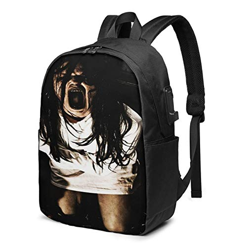 Laptop Backpack with USB Port Scary Horror Scene Woman, Business Travel Bag, College School Computer Rucksack Bag for Men Women 17 Inch Laptop Notebook