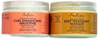 Shea Moisture Coconut Hibiscus Curl Enhancing Smoothie & Organic Raw Shea Butter Deep Treatment Hair Masque Bundle Set by Shea Moisture [並行輸入品]