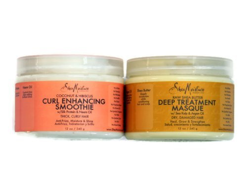 Shea Moisture Coconut Hibiscus Curl Enhancing Smoothie & Organic Raw Shea Butter Deep Treatment Hair Masque Bundle Set by Shea Moisture