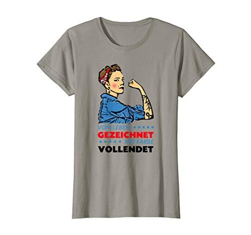 Damen Vom Leben gezeichnet mit Farbe vollendet Outfit Tattoo T-Shirt