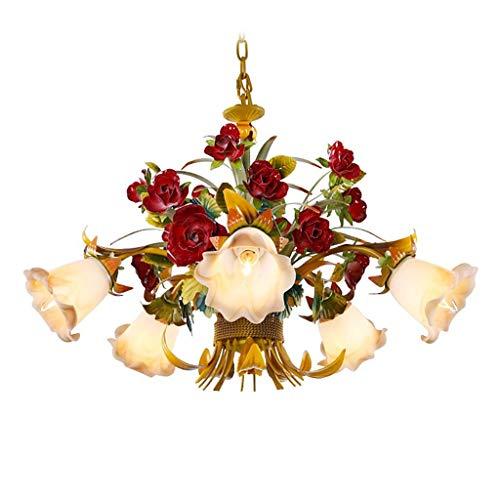 KIWG Kronleuchter Pendelleuchten Florentiner Klassisch Metall Floral Rustikalen Stil Design Für Wohnzimmer Schlafzimmer Kinderzimmer Rose Kronleuchter E14