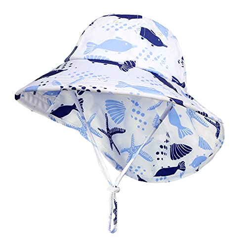 Yoofoss Unisex Baby Sonnenhut Jungen Mädchen Schirmmütze mit Bindebändern Kinder Sommermütze Strand Visier Cap Kleinkind Hut Sommer Mützen 2-4 Jahre