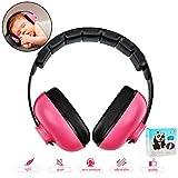 Baby-Ohrenschutz mit Geräuschunterdrückung für Kinder, Geräuschunterdrückung, Ohrenschützer, verstellbarer Kopfbügel, Gehörschutz für 0–3 Baby/Jahre Säugling/Kleinkinder (rote Rose)