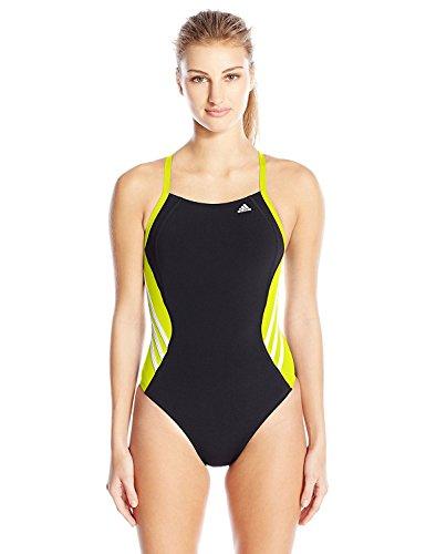 adidas Women's Solid Infinitex Splice Performance One Piece Swimsuit, Yellow, 22