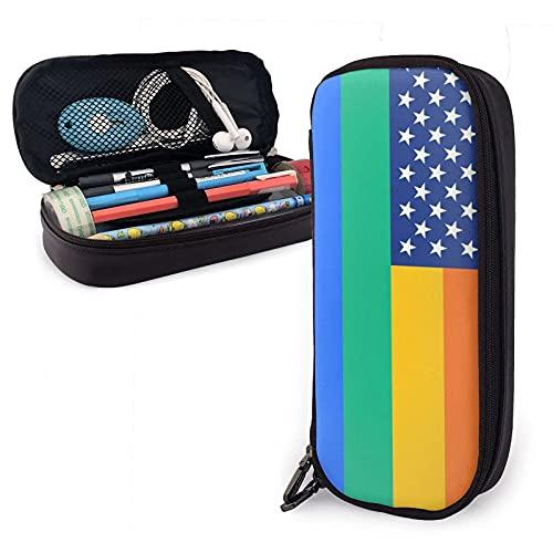 Rainbow LGBT Pride United States America Flag Estuche para lápices de cuero, gran capacidad, duradero, con cremallera, estuche para lápices, almacenamiento, maquillaje, cosméticos