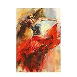 HYFBH Drucken Abstrakt Tanzen Ballerina Mädchen Ölgemälde auf Leinwand Poster und Drucke Wandkunst Bild für Wohnzimmer Rahmen-60x80cm Mit Rahmen