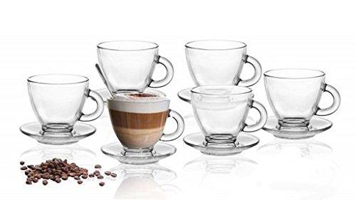 12tlg Set 6 Espresso Gläser mit 6 Unterteller Espressotassen Tasse Espressoglas