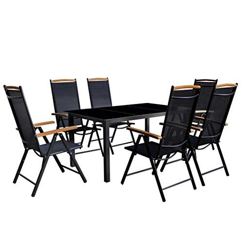 Lingjiushopping meubles de salle à manger de jard ¨ ªn pliable 7 pièces aluminium noir matériel de la chaise : Structure en aluminium avec revêtement en poudre + siège et dossier de Textilene