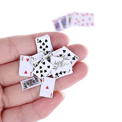 20 Cubiertas de Mini Naipes, 1/12 Casa de Muñecas Decoración en Miniatura Baraja de Cartas Juegos en Miniatura Cartas de Póquer Favor de Fiesta para Niños y Adultos
