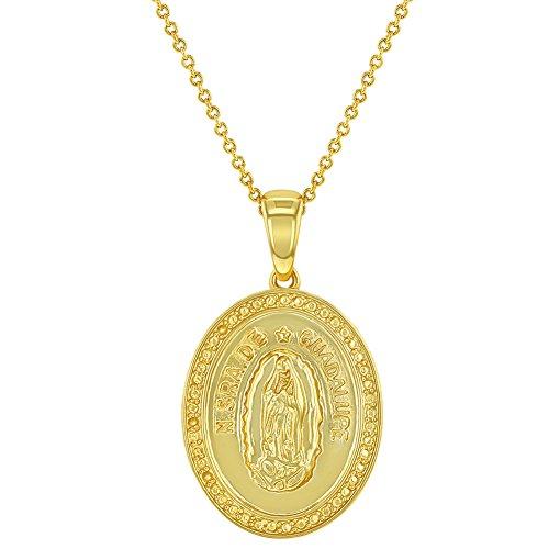 In Season Jewelry - Collar Ovalado con Medalla católica Virgen María de Guadalupe Chapado en Oro DE 18 Quilates