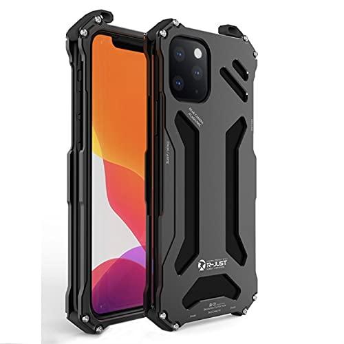 ZQAFAC Funda de metal para iPhone 12 Pro Max Mini protector a prueba de golpes de aleación de aluminio serie lujo cubierta de teléfono a prueba de golpes (color negro, material: para iPhone 12)