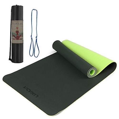 Lixada Tappetino Yoga Dual-Color TPE Addensato 8mm con Tracolla e Custodia 183 * 61cm, Tappeto Fitness Antiscivolo Portatile per Pilates Ginnastica Danza Allenamenti
