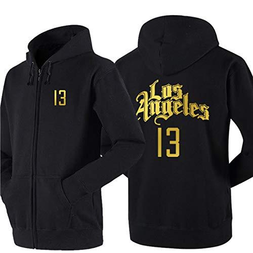 DDOYY George # 13 Clippers - Chaqueta de baloncesto estilo chaqueta de baloncesto con cremallera de manga larga con capucha para deportes al aire libre interior negro-L