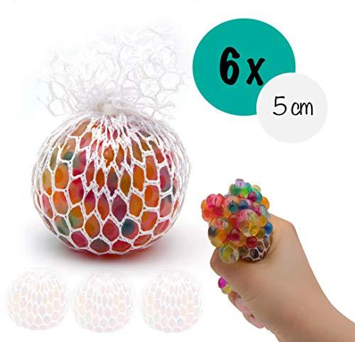 L+H 6X Anti-Stress-Ball Quetschball Regenbogen | hochwertig verarbeitet | für Kinder und Erwachsene | 5 cm Durchmesser | Rainbow Knetball Knautschball im Netz | für Das Büro oder Kindergeburtstag