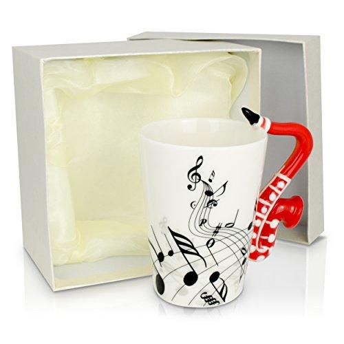 Grinscard Keramiktasse Aufdruck und Motiv Henkel - Weiß Saxophon Design 0,2l - Tee und Kaffee Tasse als Geschenk