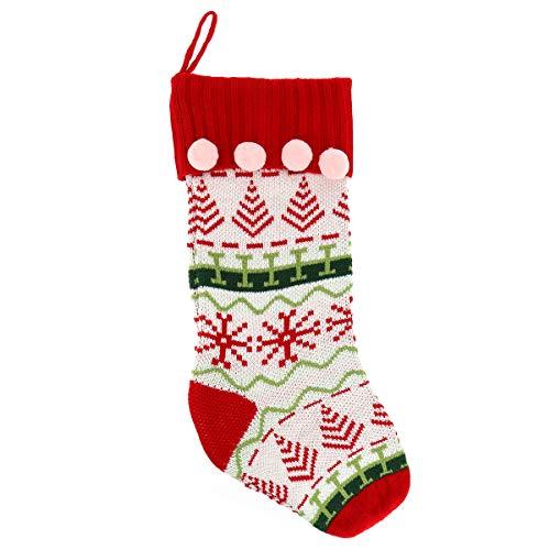 SHIPITNOW Großer Weihnachtsstrumpf zum Aufhängen – Riesenstrumpf XXL-Format aus Strick, weiß, rot, grün, mit Bommel, rosa – traditionelle Dekoration – Weihnachtsstrümpfe zum Aufhängen
