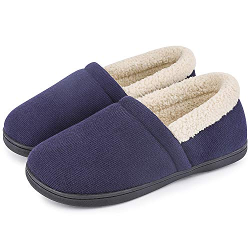 HomeTop Men's Comfy Fuzzy Knitted Cotton Memory Foam Indoor Outdoor House Shoes (US Men's 11-12, Navy Blue)