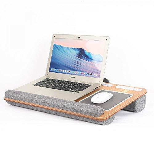 ANUIMOAR Escritorio de regazo para el hogar y la oficina, se adapta a portátiles de hasta 17 pulgadas, con reposamuñecas, cojín doble, alfombrilla para ratón, soporte para teléfono