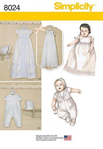 Simplicity Baby Schnittmuster 8024 Taufkleid & Einteiler Anzug