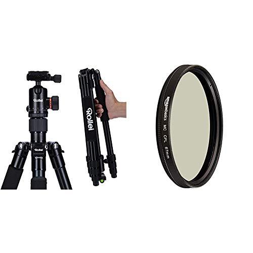 Rollei C5i - kompaktes, leichtes, Allround Fotostativ aus Aluminium mit Kugelkopf und Stativtasche, Verwendbar als Dreibeinstativ, Ministativ & AmazonBasics Zirkularer Polarisationsfilter - 67mm