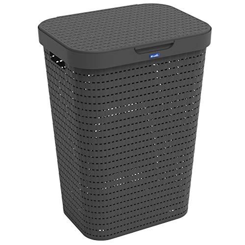 Rotho Country Cesta de lavandería de 55l con tapa en aspecto de ratán, Plástico (PP) sin BPA, negro, 55l (42.0 x 32.0 x 57.2 cm)
