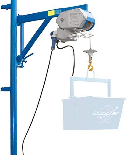 Böcker Bauwinde Boy mit Fernbedienung 1,50 m und Gerüstbefestigung - Tragfähigkeit 200 kg - 30 m Förderhöhe